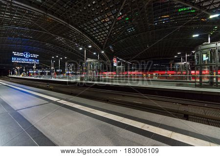 BERLIN - JUNE 20 2016: Berlin Central Station in the night. Railway platform. The central station of Berlin - the largest and modern railway station of Europe