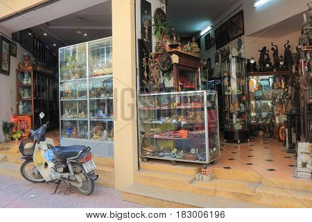 HO CHI MINH CITY VIETNAM - NOVEMBER 26, 2016: Le Cong Kieu Antique shop street.