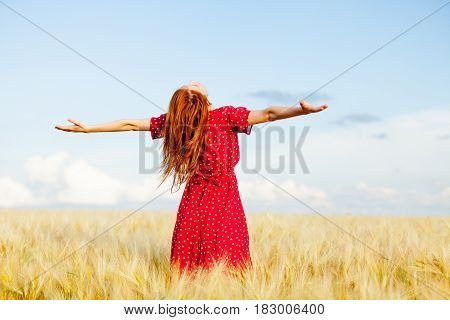 Photo Of Beautiful Young Woman On The Wonderful Wheat Field Background