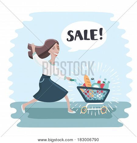 Comic vector illustration. Cartoon funny woma run and push shopping trolley filled with full of shopping. He waving his hand. Bubble speech with word Sale!