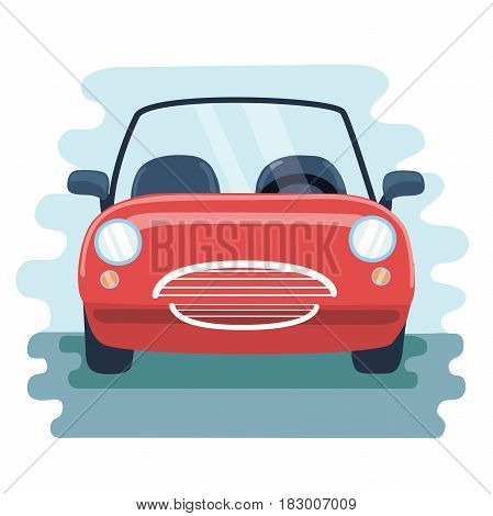 Vector illustration retro cabrio red car in the front view