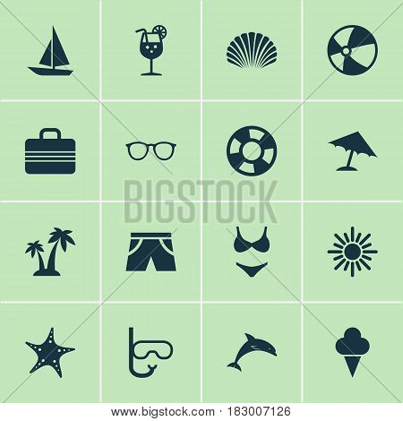Season Icons Set. Collection Of Star, Bead, Dinghy And Other Elements. Also Includes Symbols Such As Beach, Dinghy, Starfish.