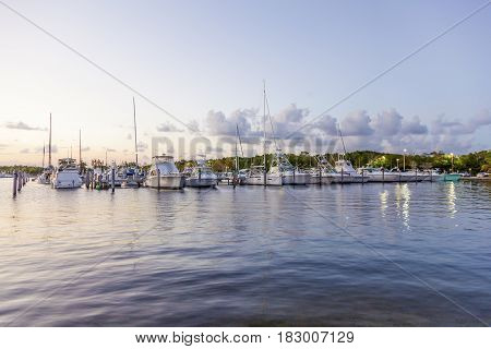 Yachts and fishing boats at the marina in Coral Gables. Miami Florida United States