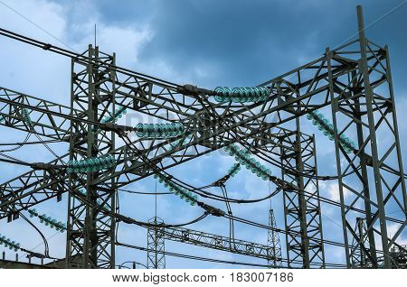 Power switching station.  Power lines. Electricity. Distribution electric.