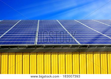 Solar panel on a roof of commercial warehouse