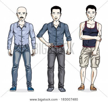 Handsome Men Posing Wearing Casual Clothes. Vector Diverse People Illustrations Set. Lifestyle Theme