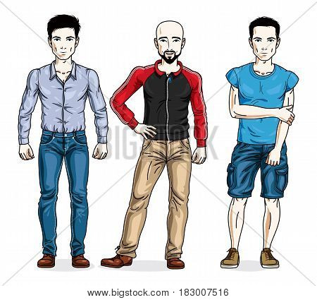Handsome Men Posing Wearing Casual Clothes. Vector Diverse People Illustrations Set.