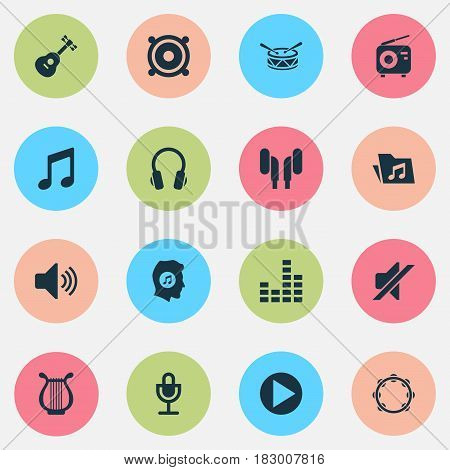 Multimedia Icons Set. Collection Of Barrel, Equalizer, Dossier And Other Elements. Also Includes Symbols Such As Radio, Timbrel, Loudspeaker.