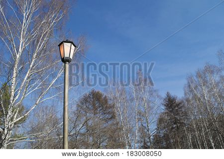 Street lamp shines red in the daytime on the blue sky and trees background