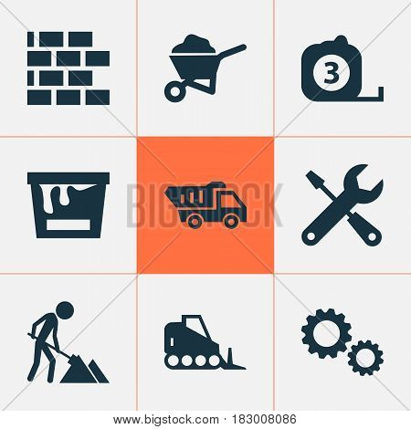 Architecture Icons Set. Collection Of Tractor, Cogwheel, Paint Bucket And Other Elements. Also Includes Symbols Such As Tools, Works, Gear.