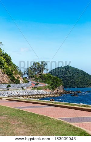 Curve Road With Sea View And Blue Sky At Khung Wiman Beach, Chantaburi Thailand.