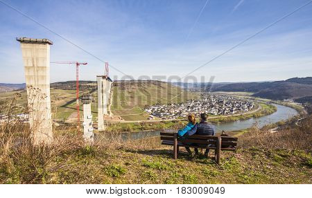 High Moselle Bridge construction side view over the Moselle valley Landscape Rheinland Pfalz Germany