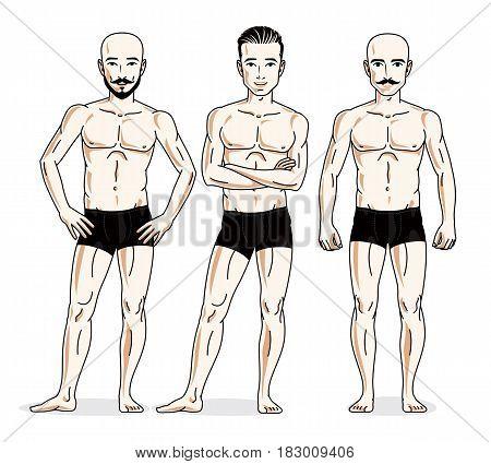 Confident Handsome Men Group Standing In Black Underwear. Vector Diversity People Illustrations Set.