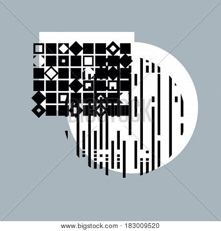 Abstract geometric composition monochrome digital vector background.