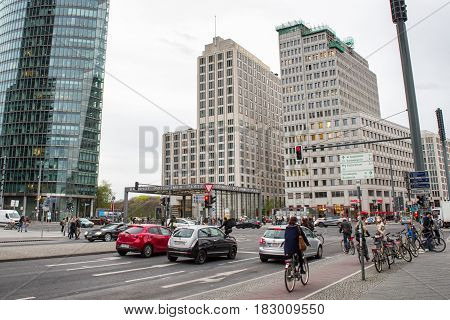 BERLIN GERMANY - APRIL 6: Buildings in Potsdamer platz in Berlin on April 6 2017 in Berlin