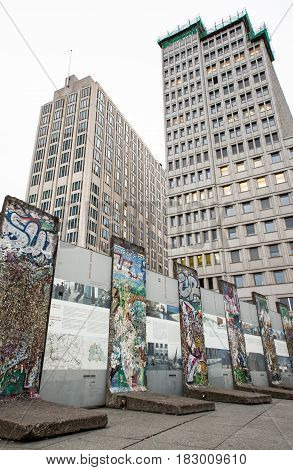 BERLIN GERMANY - APRIL 6: Berlin wall in Potsdamer platz in Berlin on April 6 2017 in Berlin