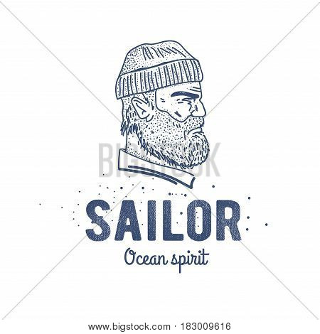 Old sailor logo or label. Seaman with a beard. Hand drawn illustration. Hipster logotype. Profile view. Vintage design