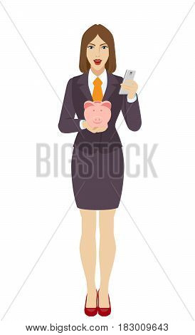 Businesswoman using a mobile phone and holding a piggy bank. Full length portrait of businesswoman character in a flat style. Vector illustration.