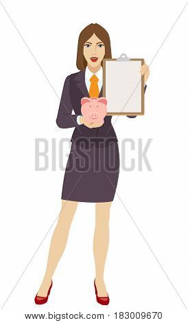 Businesswoman holding a piggy bank and clipboard. Full length portrait of businesswoman character in a flat style. Vector illustration.
