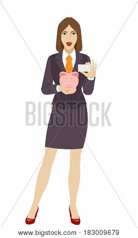 Businesswoman holding a piggy bank and showing the business card. Full length portrait of businesswoman character in a flat style. Vector illustration.