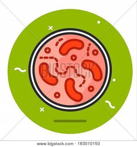 Petri Dish flat bacteria icon illustration design