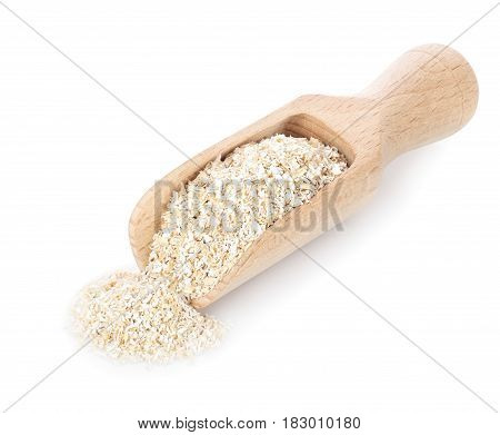 bran in wooden scoop isolated on white background. Food supplement to improve digestion. Dietary fiber. Product for healthy nutrition and diet