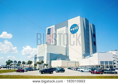 KENNEDY SPACE CENTER, FLORIDA, USA - APRIL 21, 2016: NASA building. Several rockets are exhibited in rocket garden in the visitor complex of Kennedy Space Center near Cape Canaveral in Florida