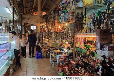 HO CHI MINH CITY VIETNAM - NOVEMBER 26, 2016: Unidentified people visit Ben Thanh market.