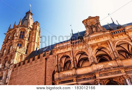 COLOGNE, GERMANY-SEPTEMBER 10, 2016: The historic Cologne Town Hall is the oldest city hall in Germany due to its building testimonies.