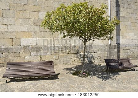 Wooden benches in front a stone wall in the village of Pobra in the province of Corunna Galicia Spain.