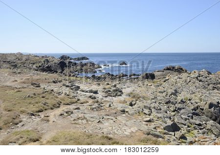 Rocky coastline of Corrubedo in Galicia Spain
