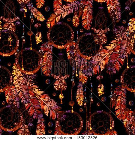 Dreamcatcher for Tribal boho style seamless pattern on black background