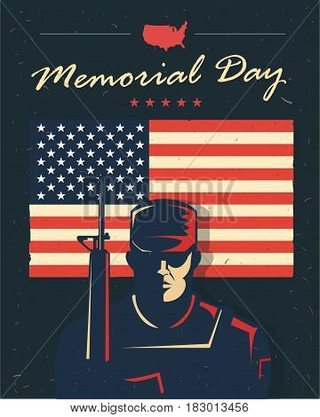 Memorial day card. Soldier against american flag. Vector illustration. Patriotic poster