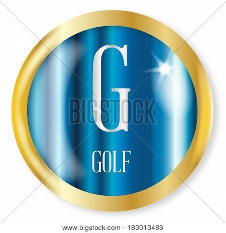 G for Golf button from the NATO phonetic alphabet with a gold metal circular border over a white background