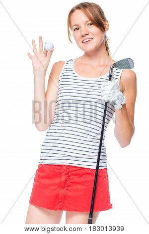 Girl Successful Golfer Posing With Props For Playing In The Studio
