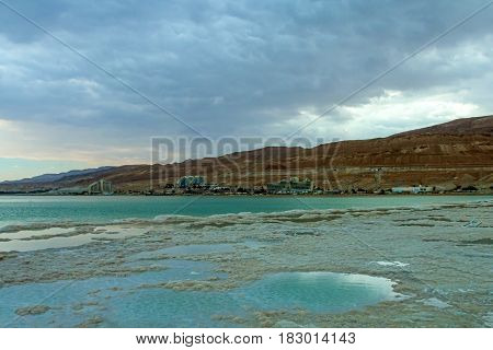 View of the Dead Sea crystalline salt formations