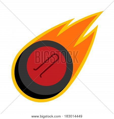 Curling winter sport comet fire tail flying stone logo
