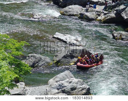 TAMAKAWA TOKYO JAPAN, 2016 May 5. People are rafting along the famous river of tokyo japan