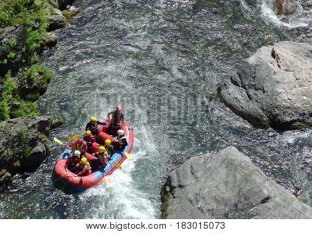 TAMAKAWA TOKYO JAPAN. 2016 May 5. People are rafting along the famous river of tokyo japan