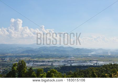 paddy field and mountain background in Thailand countryside
