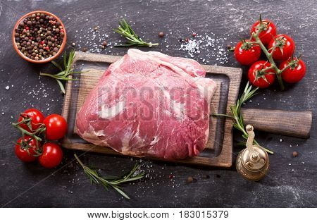 Piece Of Fresh Meat With Ingredients For Cooking