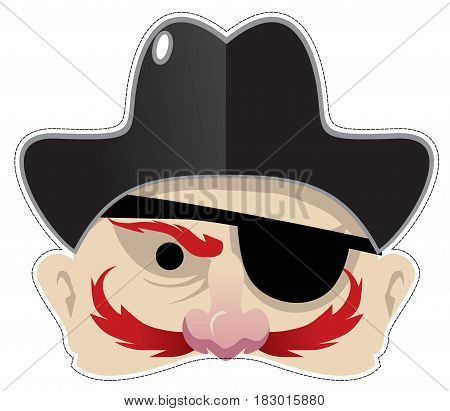 menacing pirate mask for masquerade and parties vector illustration