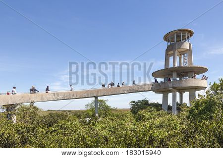 Miami Fl - March 15 2017: The Shark Valley Observation Tower in the Everglades National Park. Florida United States