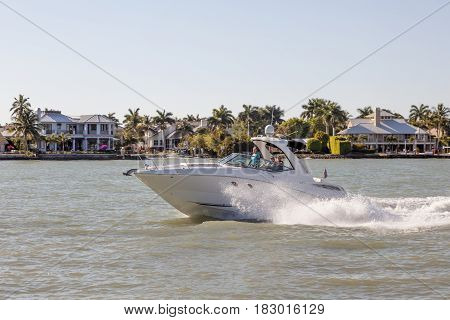 Naples Fl USA - March 18 2017: Joyride with a motorbaot in the Gulf of Mexico. Naples Florida United States