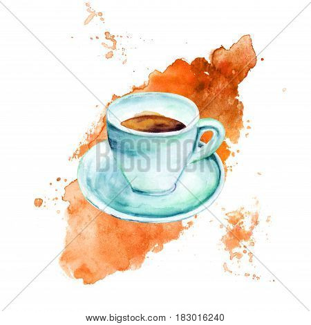 A watercolour drawing of a cup of coffee in teal hues, on a coffee stain, with a place for text