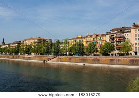 View of the Adige river from ponte nuovo Verona