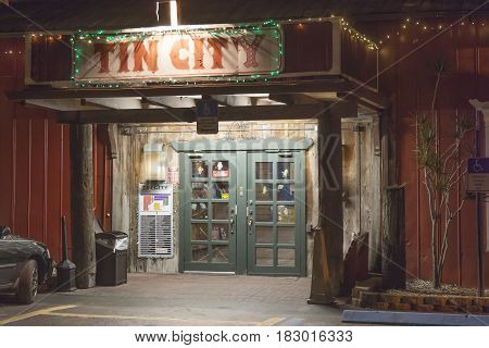 Naples Fl USA - March 21 2017: Tin City - the old town of Naples with many shops and restaurants. Florida United States
