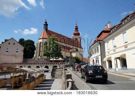 PTUJ, SLOVENIA - JULY 02: Saint George church in Ptuj, town on the Drava River banks, Lower Styria Region, Slovenia on July 02, 2016.