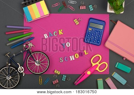 School Set With Pink Paper, Text