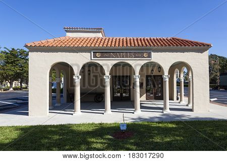 Naples Fl USA - March 21 2017: Exterior view of the Naples depot and train museum. Florida United States